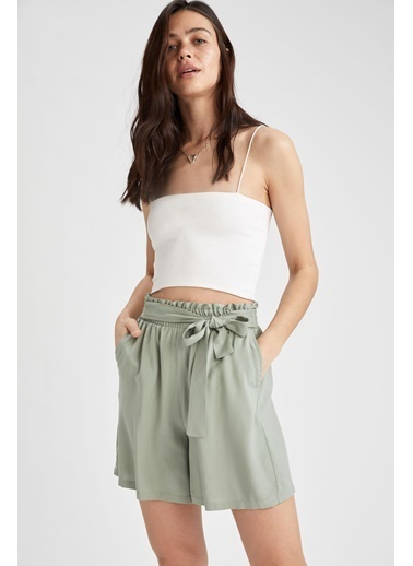 DeFacto Regular Fit Paperbag Şort Yeşil